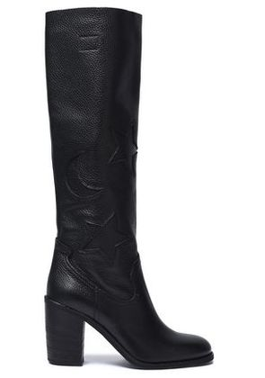 Mcq Alexander Mcqueen Woman Textured-leather Boots Black Size 38