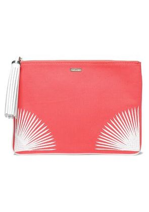 Melissa Odabash Woman Tasseled Embroidered Canvas Pouch Coral Size -
