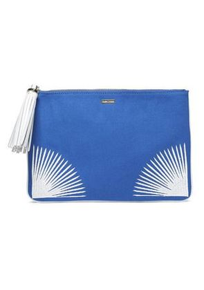 Melissa Odabash Woman Tasseled Embroidered Canvas Pouch Blue Size -