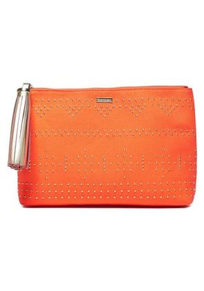 Melissa Odabash Woman Tasseled Studded Canvas Pouch Orange Size -