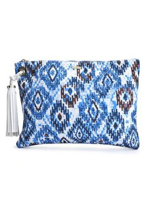 Melissa Odabash Woman Tasseled Printed Canvas Pouch Blue Size -