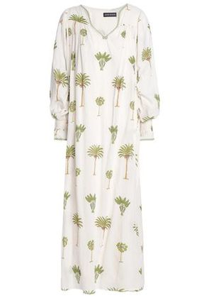 Antik Batik Woman Gathered Printed Cotton Maxi Dress Ecru Size 36