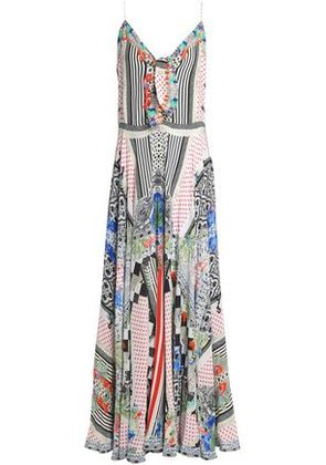 Camilla Woman Heartbeats Drumbeats Tie-front Printed Silk Maxi Dress Multicolor Size L
