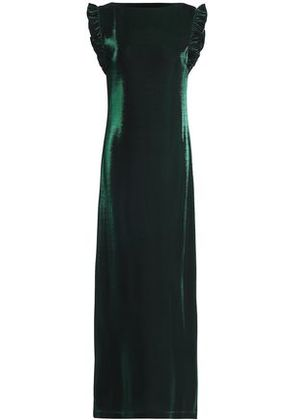Love Moschino Woman Ruffle-trimmed Lamé Gown Emerald Size 42