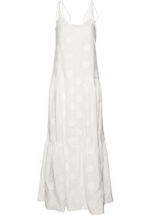 Paper London Woman Pistache Embroidered Cotton-poplin Maxi Dress White Size 6