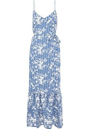 Nicholas Woman Embroidered Cotton-blend Chambray Maxi Slip Dress Blue Size 2