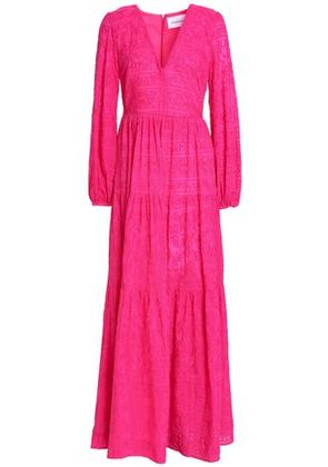 Nicholas Woman Embroidered Cotton And Silk-blend Maxi Dress Fuchsia Size 4