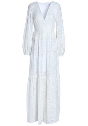 Nicholas Woman Embroidered Cotton And Silk-blend Maxi Dress White Size 6