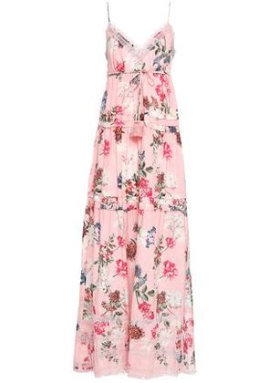 Nicholas Woman Tiered Floral-print Cotton And Silk-blend Maxi Dress Baby Pink Size 6