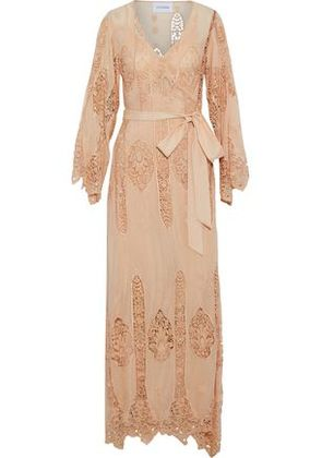 Nicholas Woman Guipure Lace-paneled Cotton And Silk-blend Wrap Maxi Dress Pastel Orange Size 2