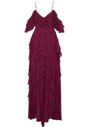 Nicholas Woman Ruffled Silk-georgette Maxi Dress Burgundy Size 0