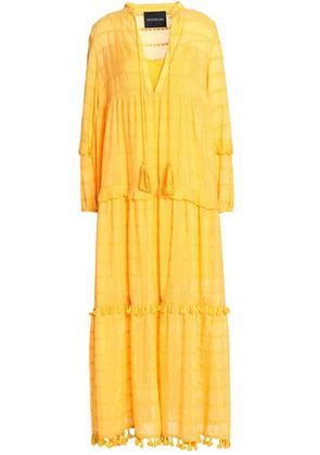 Nicholas Woman Ruffle-trimmed Embroidered Cotton And Silk-blend Maxi Dress Saffron Size 2