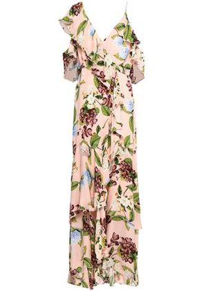 Nicholas Woman Cold-shoulder Ruffled Floral-print Silk Maxi Dress Blush Size 8