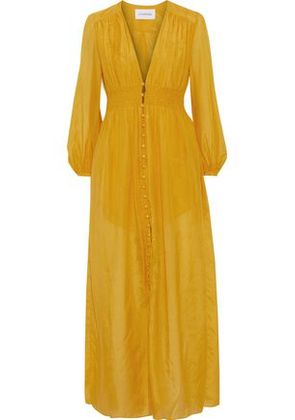 Nicholas Woman Smocked Cotton And Silk-blend Maxi Dress Mustard Size 4