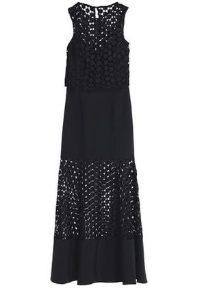 Nicholas Woman Fluted Guipure Lace And Crepe Gown Black Size 4