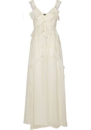 Love Sam Woman Lattice-trimmed Ruffled Voile Maxi Dress Cream Size M
