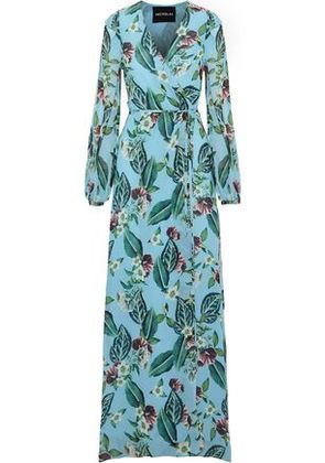 Nicholas Woman Floral-print Silk-georgette Maxi Wrap Dress Sky Blue Size 0