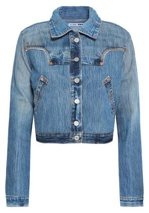 Re/done By Levi's Woman Cropped Denim Jacket Mid Denim Size XS