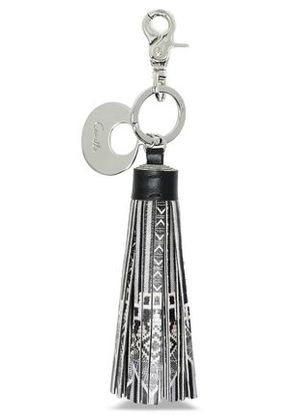 Camilla Woman Tasseled Printed Leather Keychain Black Size -