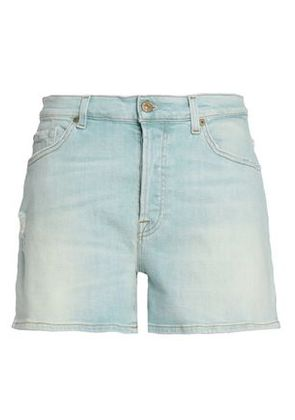 7 For All Mankind Woman Distressed Denim Shorts Light Denim Size 24