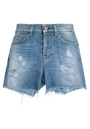 7 For All Mankind Woman Distressed Denim Shorts Mid Denim Size 28