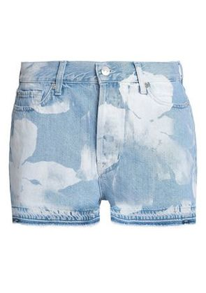 7 For All Mankind Woman Frayed Bleached Denim Shorts Light Denim Size 29