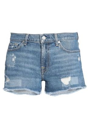 7 For All Mankind Woman Distressed Denim Shorts Mid Denim Size 27