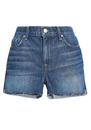 7 For All Mankind Woman Frayed High-rise Denim Shorts Mid Denim Size 30