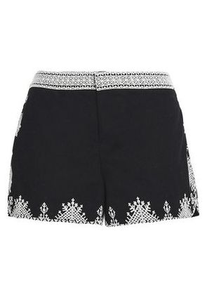 Joie Woman Embroidered Cotton Shorts Black Size 8