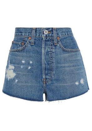 Re/done By Levi's Woman Frayed Denim Shorts Mid Denim Size 25