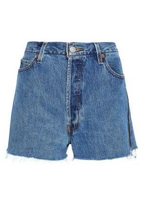 Re/done By Levi's Woman Distressed Denim Shorts Mid Denim Size 28