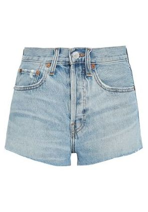 Re/done Woman Distressed Denim Shorts Light Denim Size 24