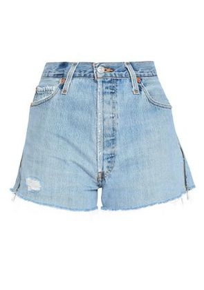Re/done By Levi's Woman Distressed Denim Shorts Light Denim Size 25