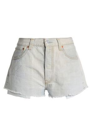 Re/done By Levi's Woman Frayed Denim Shorts Light Gray Size 28