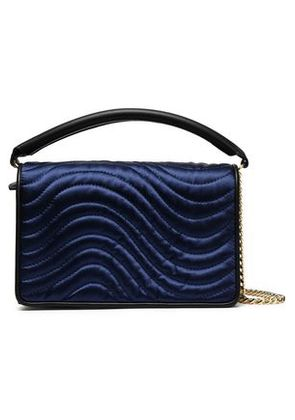 Diane Von Furstenberg Woman Quilted Satin And Leather Shoulder Bag Navy Size -