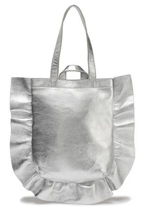 Loeffler Randall Woman Ruffle-trimmed Metallic Textured-leather Tote Silver Size -
