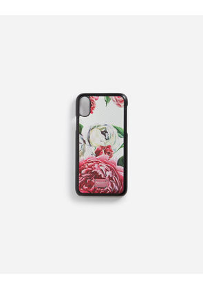 Dolce & Gabbana Hi-Tech Accessories - IPHONE X COVER WITH PRINTED DAUPHINE CALFSKIN DETAIL FLORAL PRINT