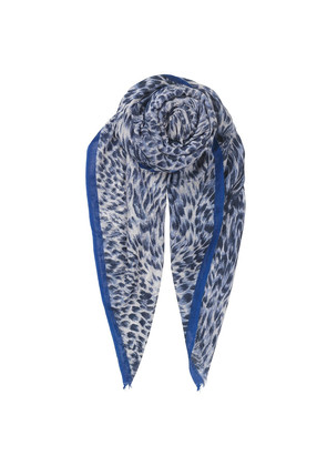 Emira Leopard Print Scarf - Blue Nights