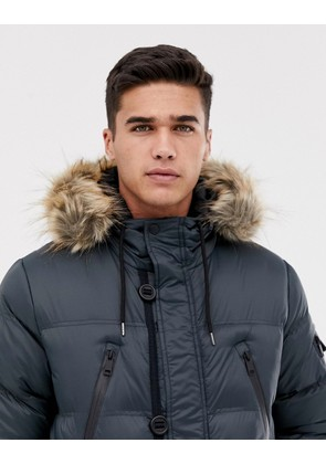 Brave Soul Puffer Parka Jacket With Hood. - Charcoal