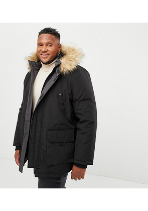 New Look Plus Parka Jacket In Black - Black