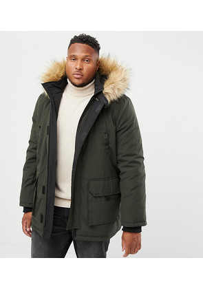 New Look Plus Parka Jacket In Khaki - Green
