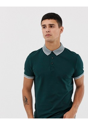 New Look polo with jacquard collar in teal - Teal