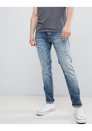 Jack & Jones Intelligence Jeans In Slim Fit With Open Rips - Blue 7a8