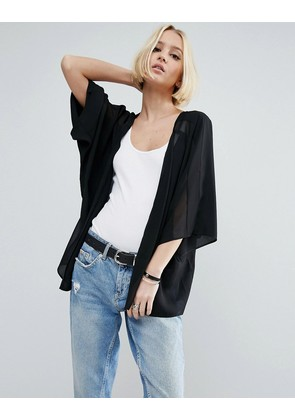 ASOS Sheer and Solid Kimono - Black