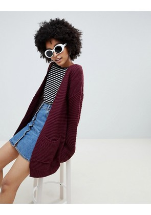 Brave Soul Amber Cardigan - Berry red