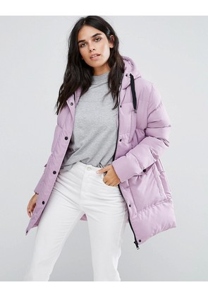 Brave Soul Mid Padded Coat - Lilac