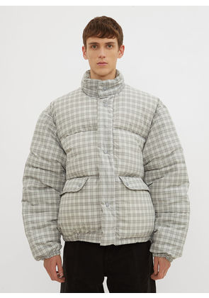 Our Legacy Oversized Lenox Check Padded Jacket in Grey size EU - 46