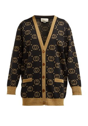 Gucci - Gg Jacquard Knit Wool Blend Sweater - Womens - Black Gold