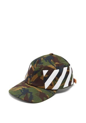 Off-white - Printed Camouflage Cotton Cap - Mens - Green