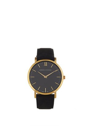Larsson & Jennings - Lugano Gold Plated And Leather Watch - Mens - Black Multi